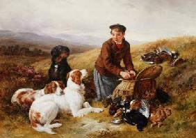 A Young Gillie With Setters and Dead Game