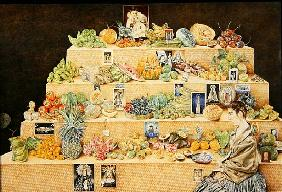 Fruit-stall, La Lagunilla, 1998 (oil on canvas) (see 240165 for detail)