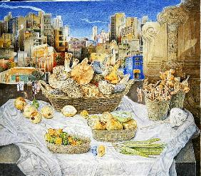 Still Life with Funghi and Cityscape, 2001 (oil on canvas)