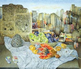 Still Life with Papaya and Cityscape, 2000 (oil on canvas)