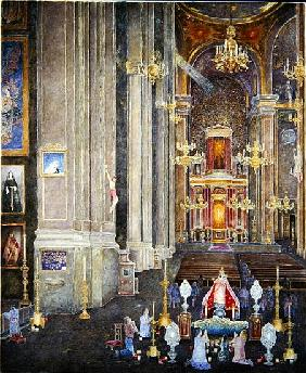 Veneration of the Virgen del Rosario, the Convent of San Domingo, 2001 (oil on canvas)