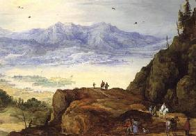 Extensive mountain landscape with a lake
