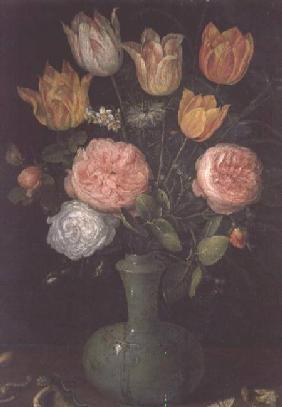 Vase of Flowers with Diamonds on the Table