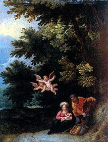 The Holy Family at the quiet on the flight to Egypt