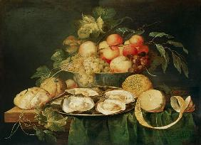 Quiet life with fruits and oysters