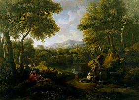 Landscape with figures at a well
