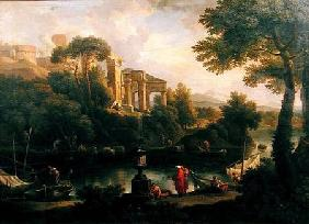 Landscape with figures by a pool with ruins in the background