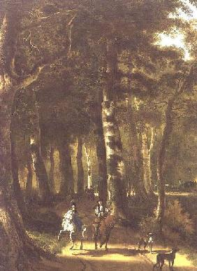 Travellers on a Path in a Wooded Landscape