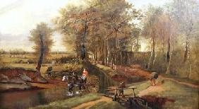 A Wooded River Landscape with Figures, Horse and Cart