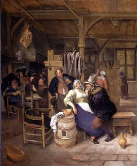 Steen, Jan Havickszoon : A Tavern Interior with Car...