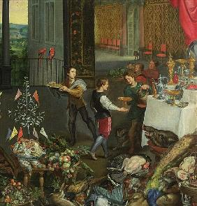 Allegory of Taste, detail of servers bringing wine, 1618 (detail of 61052)