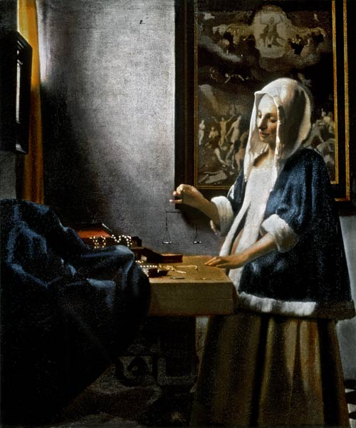 Woman Holding a Balance - oil painting of Jan Vermeer van ...