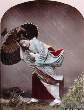 Young Japanese Girl in the Rain, c.1900 (hand coloured photo)