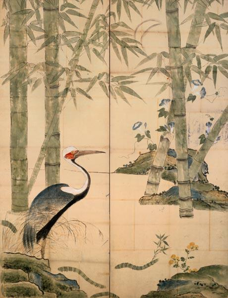 Pine and Bamboo and Cranes (w/c on panel)