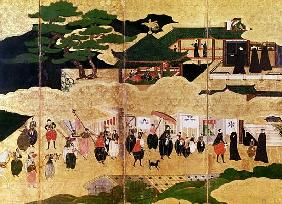 The Arrival of the Portuguese in Japan, detail of the right-hand section of a folding screen, Kano S