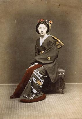 Young Girl in a Kimono, c.1860-70 (hand coloured photo)