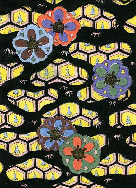 Woodblock Print of Honeycomb Pattern