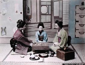 Geisha Girls Playing the Game of Go, c.1900 (hand coloured photo)