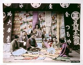 Japanese Silk and Fabric Shop, c.1900 (hand coloured photo)