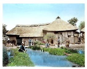 View of a Japanese Farm, c.1900 (hand coloured photo)