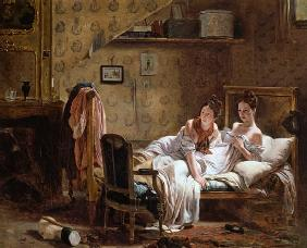 Two Women in a Bed disturbed by a Cat