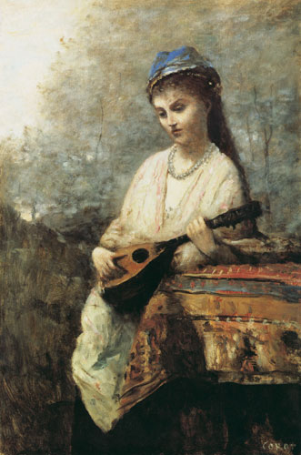 """the girl with the mandolin Art and design sale 115 lot 72 artist unknown (20th century) girl with mandolin  oil on canvasboard signed """"v gianakapulos scholomiti"""" lower left 30″ x 22."""