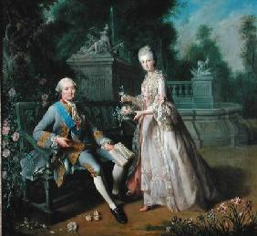 Louis-Jean-Marie de Bourbon, Duke of Penthievre (1725-93) with his daughter Louise-Adelaide (1753-18