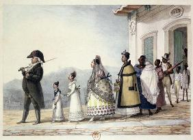 A Government Employee Leaving Home with his Family and Servants, from 'Voyage Pittoresque et Histori