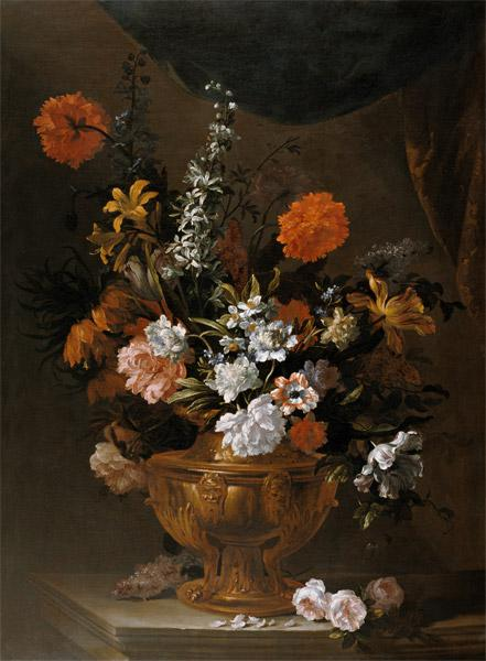 Flowers in a Sculptured Vase
