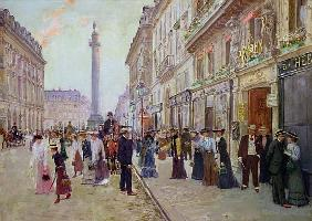 Workers leaving the Maison Paquin, in the rue de la Paix, c.1900