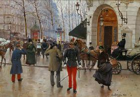 The Boulevard des Capucines and the Vaudeville Theatre, 1889 (oil on panel)