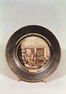 Plate depicting the Sevres workshop during the directorship of Alexandre Brogniart (1770-1847)