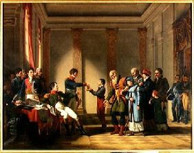 Napoleon Bonaparte (1769-1821) Giving a Pension of A Hundred Napoleons to the Pole, Nerecki, aged 11