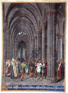 St. Veran exorcising the possessed in the north aisle of the Cathedral of Notre-Dame de Paris, 1452-