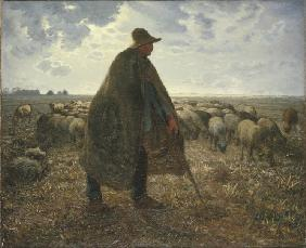 Shepherd Tending His Flock