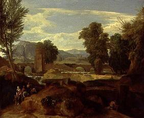 Roman landscape with bend bridge