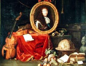 Still life with portrait of King Louis XIV (1638-1715) surrounded by musical instruments, flowers an