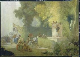The feast in the park of St. Cloud. Detail: Theatre game in the park
