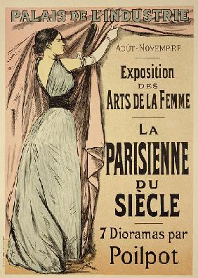 Reproduction of a poster advertising 'La Parisienne du Siecle' an exhibit of seven dioramas by Poilp