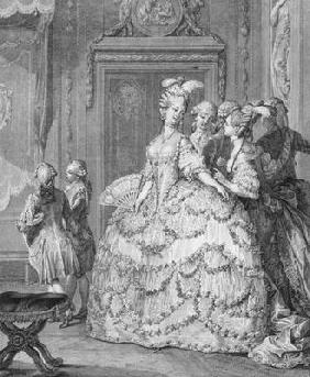 The Queen's Lady-in-Waiting, engraved by P.A. Martini (1739-97)