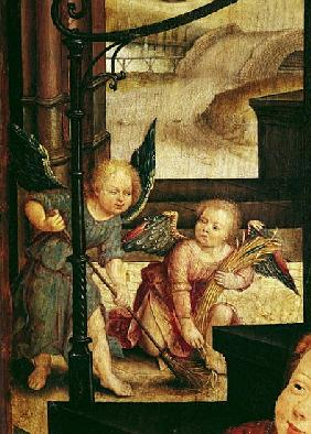 Triptych of the Adoration of the Child, detail of two angels sweeping from the right hand panel