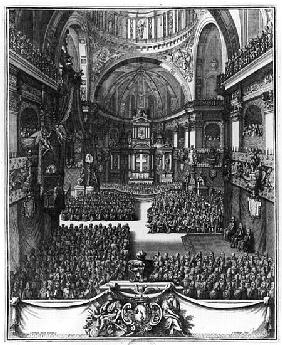 Funeral of Marie-Louise d''Orleans (1662-89) Queen of Spain, at the church St. Paul St. Louis, Paris