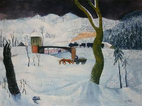 Winter landscape with waggon and train
