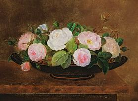 Bowl of Roses on a Marble Ledge