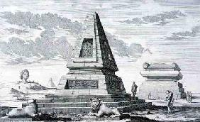 Pyramids marking the Tomb of King Sotis of Egypt, found in the ruins of Heliopolis. from 'Entwurf ei