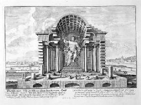 The Statue of Olympian Zeus by Phidias, plate 5 from 'Entwurf einer historischen Architektur'