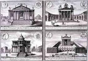 View of Four Temples taken from Roman Coins, from 'Entwurf einer historischen Architektur', engraved