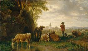 Herdsman and cows, in the distance a village