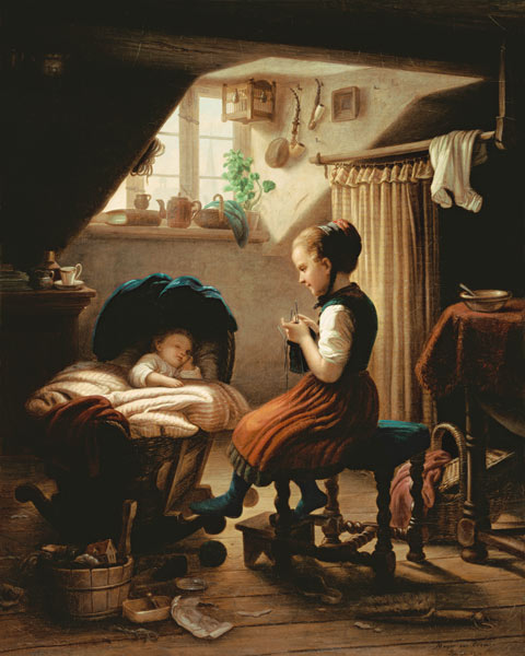 Tending the Little Ones - Johann Georg Meyer von Bremen as art ...