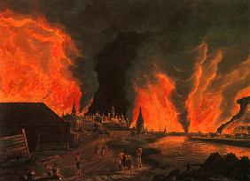 Fire of Moscow on 15th September 1812 (After a painting by H.J. Ohlendorf)